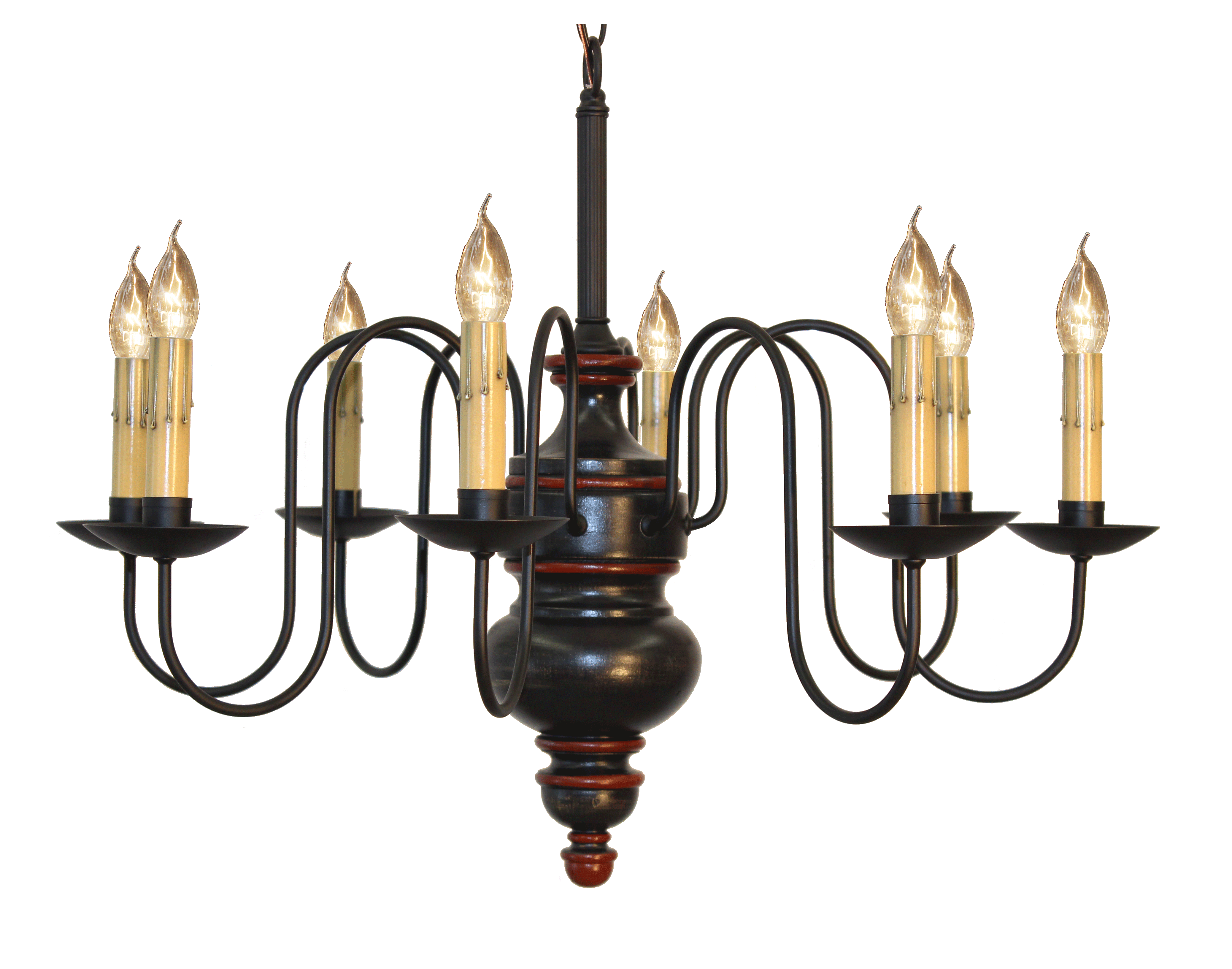 Chesapeake Chandelier Finished In Massicot, Black, Cottage Red